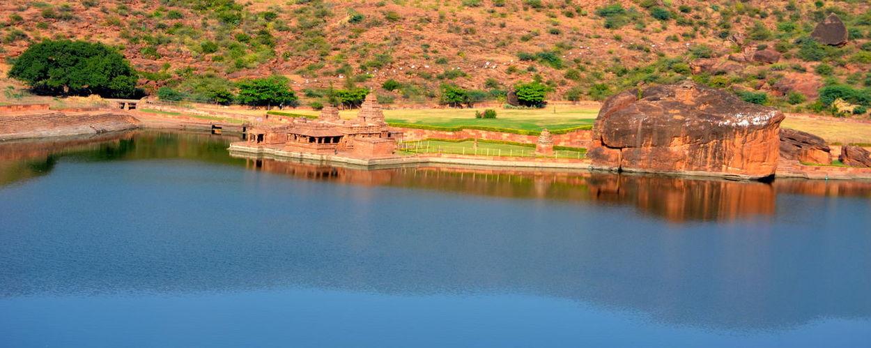 Architecture Badami Historic Reflection Rocks Water