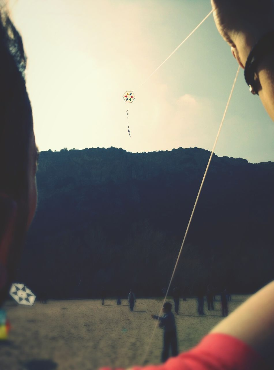 Flying Sky Outdoors Close-up One Person Xanthi Greece Colorful Kite Greek Traditions Kite Flying Up High