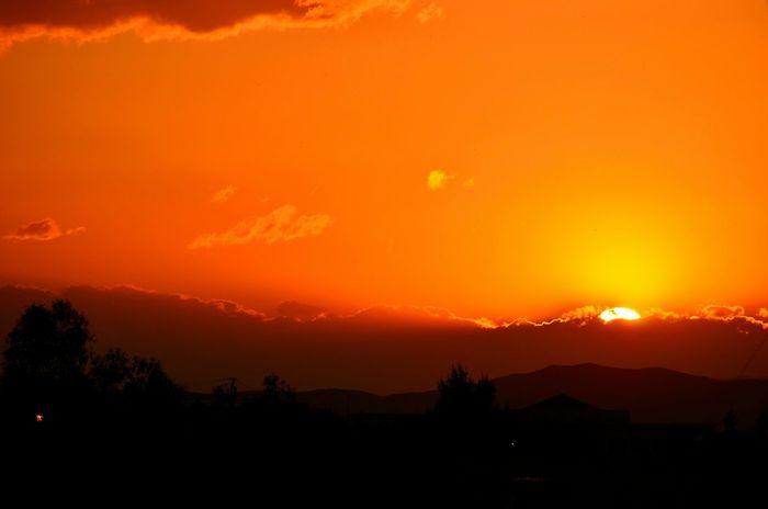 Sunset Sky And Clouds Orange Beautiful Beauty Nature Oujda Morocco