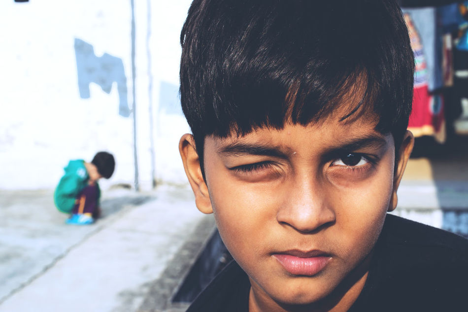 A portrait of my nephew #colourful #GharKeBacche #home #sweet #home #kids #Lucknow #Mischievous #Morning #Winters Childhood Close-up Portrait