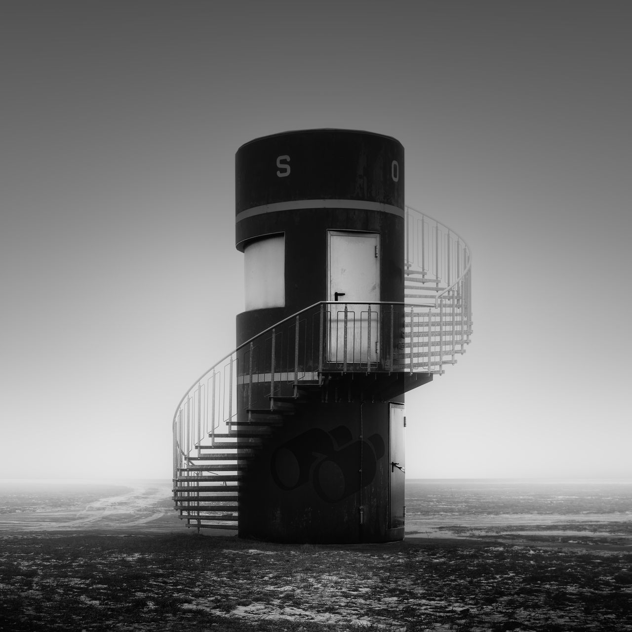 Lookout tower at Tempelhofer Field Berlin Architecture Beach Berlin Black And White Built Structure City Copy Space Day Fineart Fineart_photobw Foggy Day Germany Long Exposure Lookout Tower Misty Morning Nature No People Outdoors Philipp Dase Sea Sky Stairs Tempelhofer Feld Winter