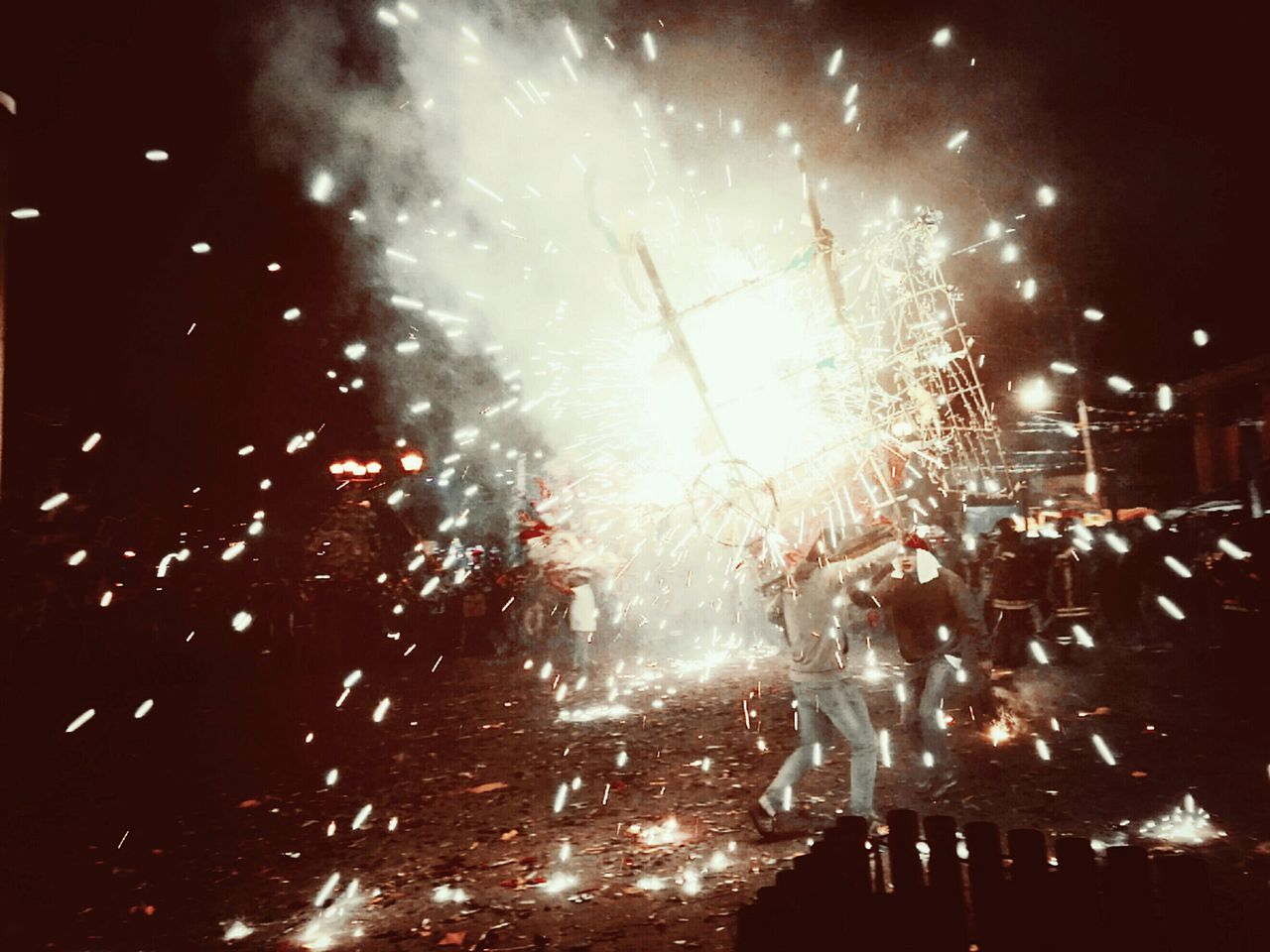 Mexico Celebration Traditional Culture Toritospirotecnicos Smoke Human Representation Traditions Traditional Costume HuaweiP9 Pyrotechnics Colorful Night Nice Shot