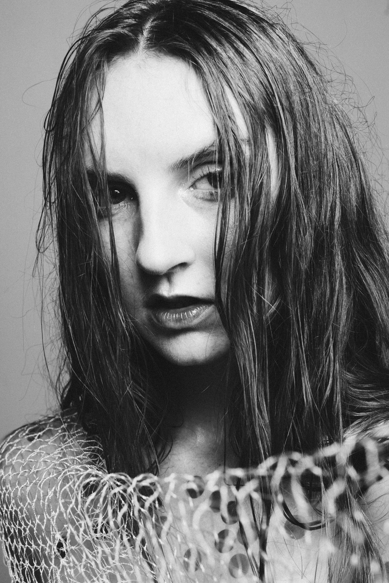 Beautiful Woman Black And White Close-up Day Indoors  Long Hair Mermaid One Person People Portrait Real People Studio Shot Young Adult Young Women