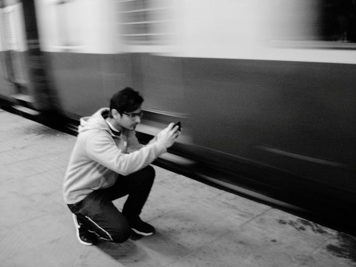 Photography In Motion Running Train Candid Photography Blackandwhite Taking Photos Of People Taking Photos Taking Photo India Railwaystation Trainphotography Photographer Capture The Moment Capture Movement Speed Of Motion Photography Railway Platform Showcase April People And Places