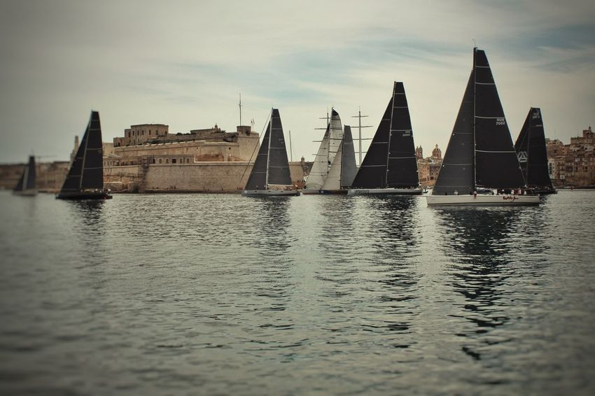 Sailing Sailling Boats Rolex Middle Sea Race Reflection Water City Travel Destinations No People Sea Cloud - Sky Outdoors Cityscape Day Valletta Malta Grand Harbour