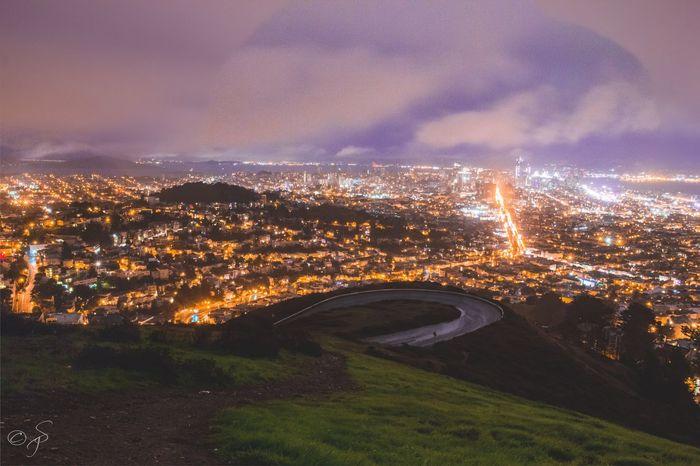 Twin Peaks, San Francisco, California.🌉 Twin Peaks San Francisco California City Illuminated No People Night Mountain Road Landscape Peaceful Relaxing