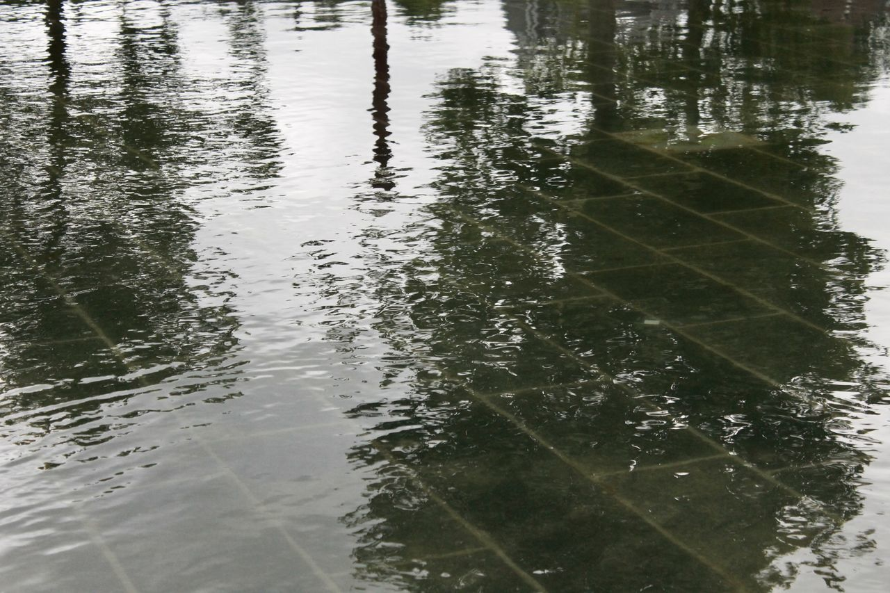 Dark Day Floor Forecast Fountain Gray Green Lake Lookalike Nature No People Not Nature Outdoors Pixels Rain Reflection Rippled Rippled Water Sky Slates Tree Upside Down Water