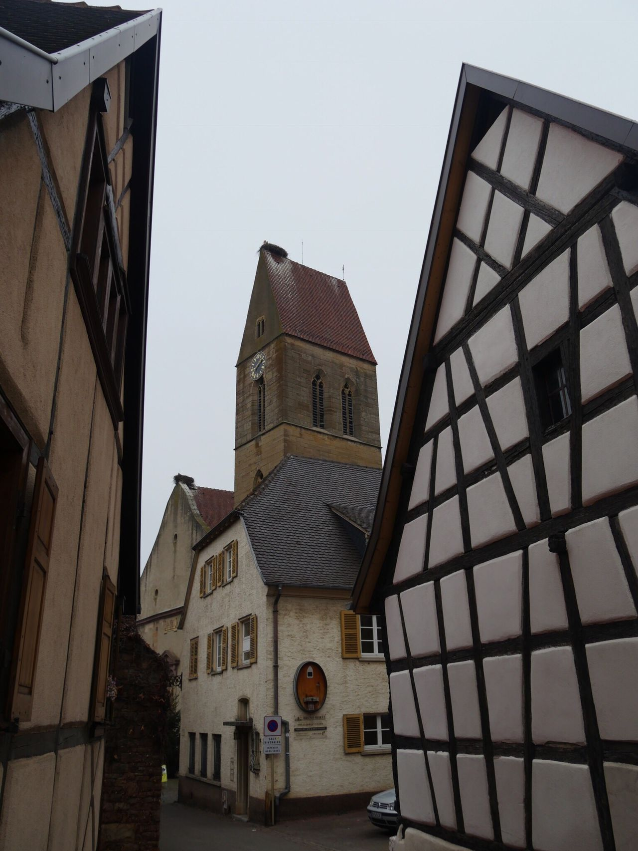 Alsace Eguisheim France Half-timbered House Church Storks