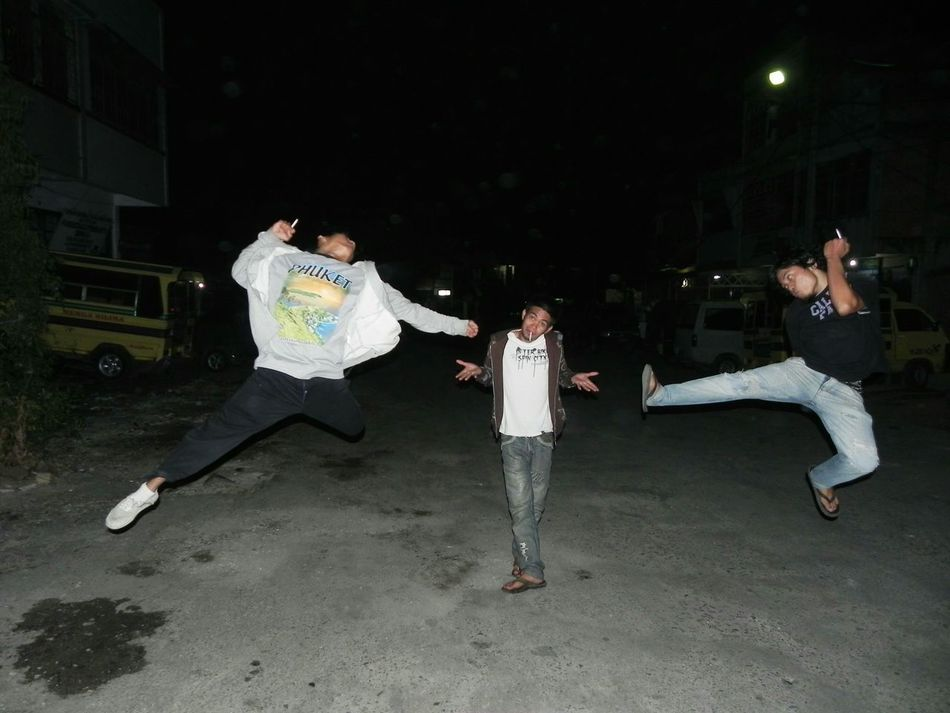 Ready,set,jump Friend Friendship Enemy Enemysquad Squad People Human Jump Kick Three Mens Style Oldschool Night Street Streetphotography Flying High Performance Outdoors Adult Adults Only Motion Full Length Human Body Part Dark