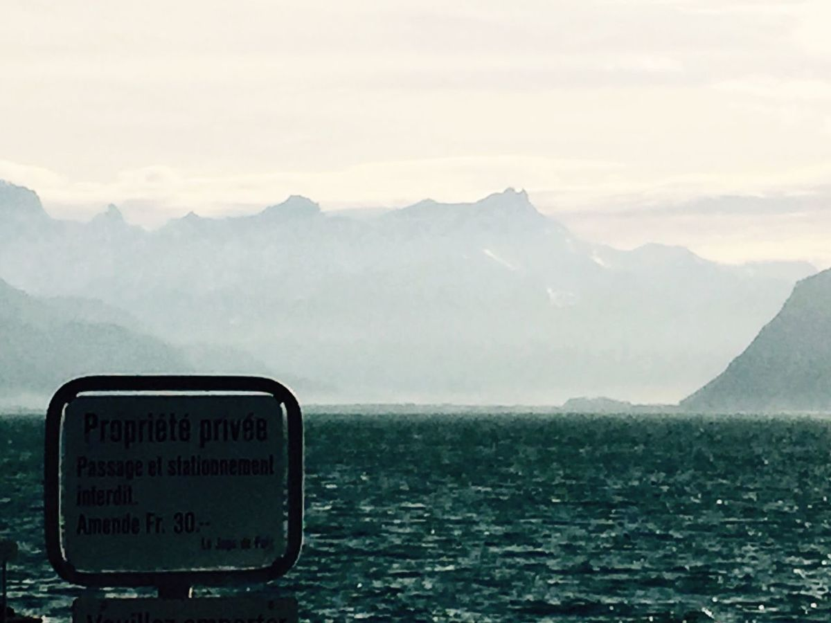 Signs Forbidden Power Over Freedom Regulations Lavaux Nudist Beach Epesses Vinyard Lake Lake Leman Darkness And Light