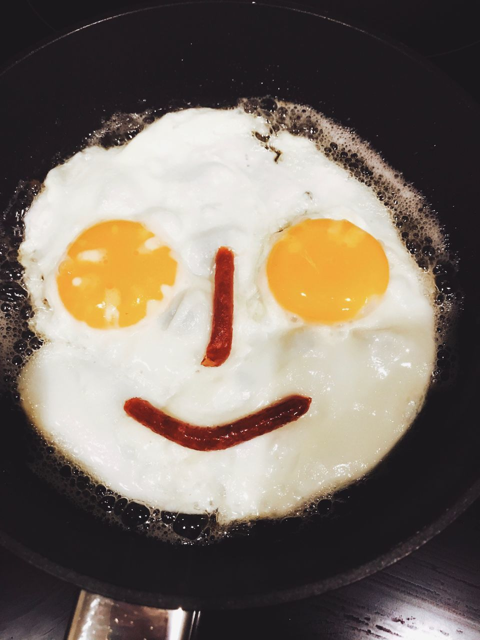fried egg, food and drink, egg, fried, frying pan, food, indoors, no people, close-up, sunny side up, breakfast, egg yolk, freshness, skillet- cooking pan, ready-to-eat, day
