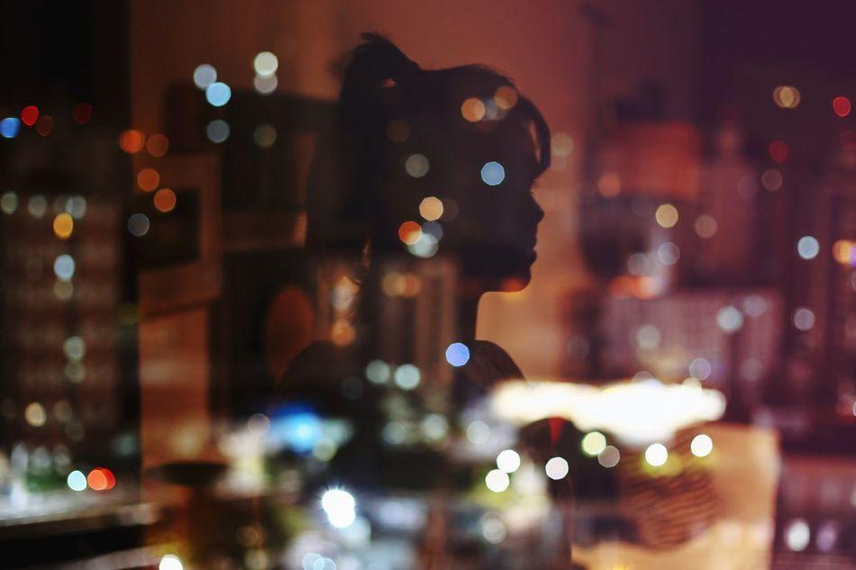 City lights 🌃 Night Defocused Illuminated City Christmas Lights Christmas Decoration Nightlife Xmas Portrait Of A Woman Portrait Creativity Night Lights Bokeh Reflection Colors Colorful