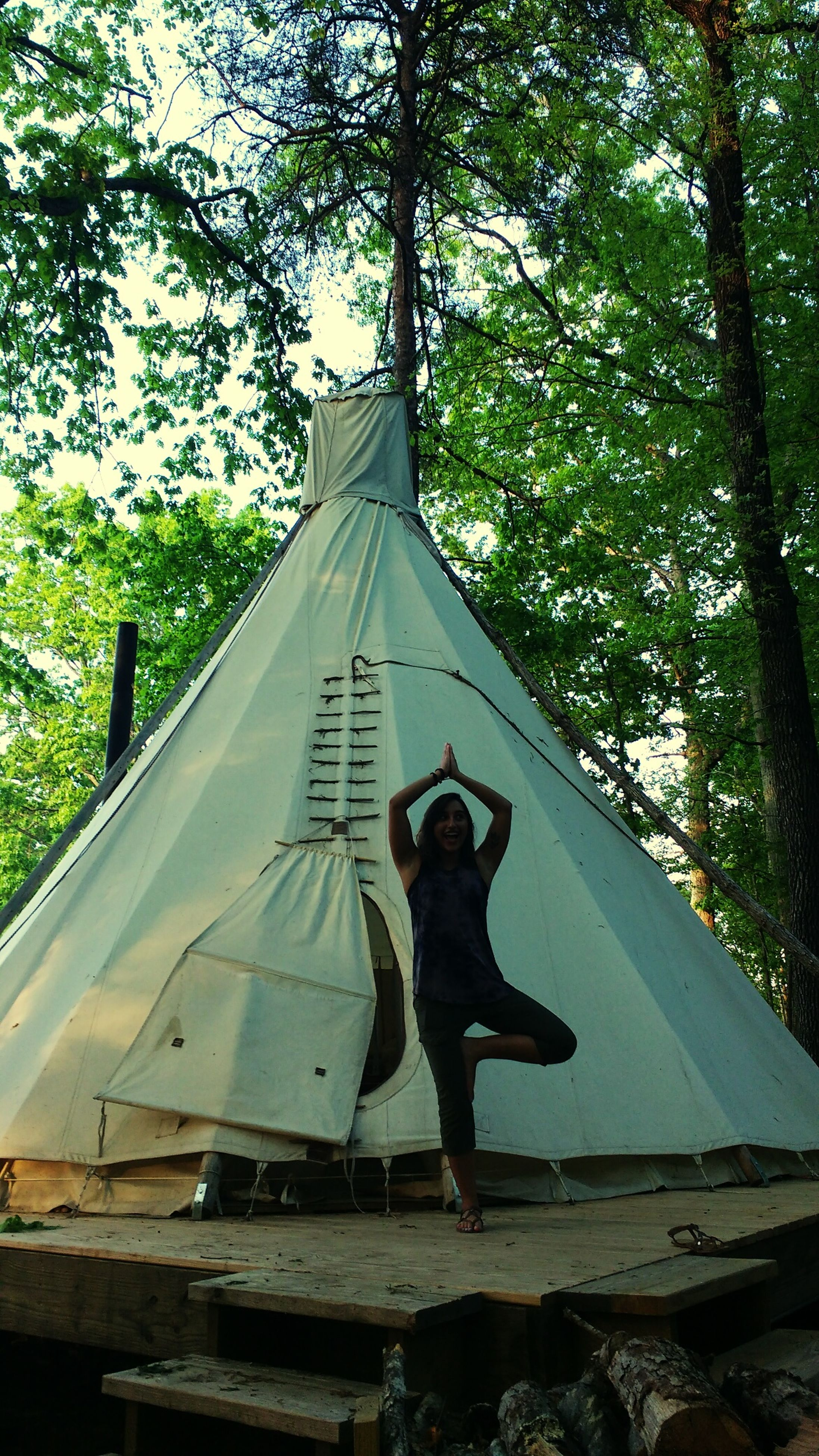 tree, real people, one person, full length, day, lifestyles, leisure activity, outdoors, tent, men, nature, sky, people