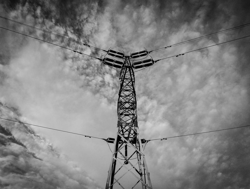 Cloud - Sky Sky Low Angle View No People Day Electricity  Electric Energy Industry Energy Electric Tower  Electrical Black & White Blackandwhite Outdoors