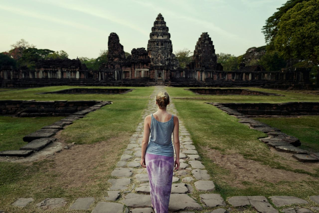 Tourism Rear View Travel Destinations History Place Of Worship Vacations One Person Architecture Outdoors Day Adult People Cultures Thailand Thailandtravel Temple Khmer Khmer Empire Phimai Historical Park Phimai