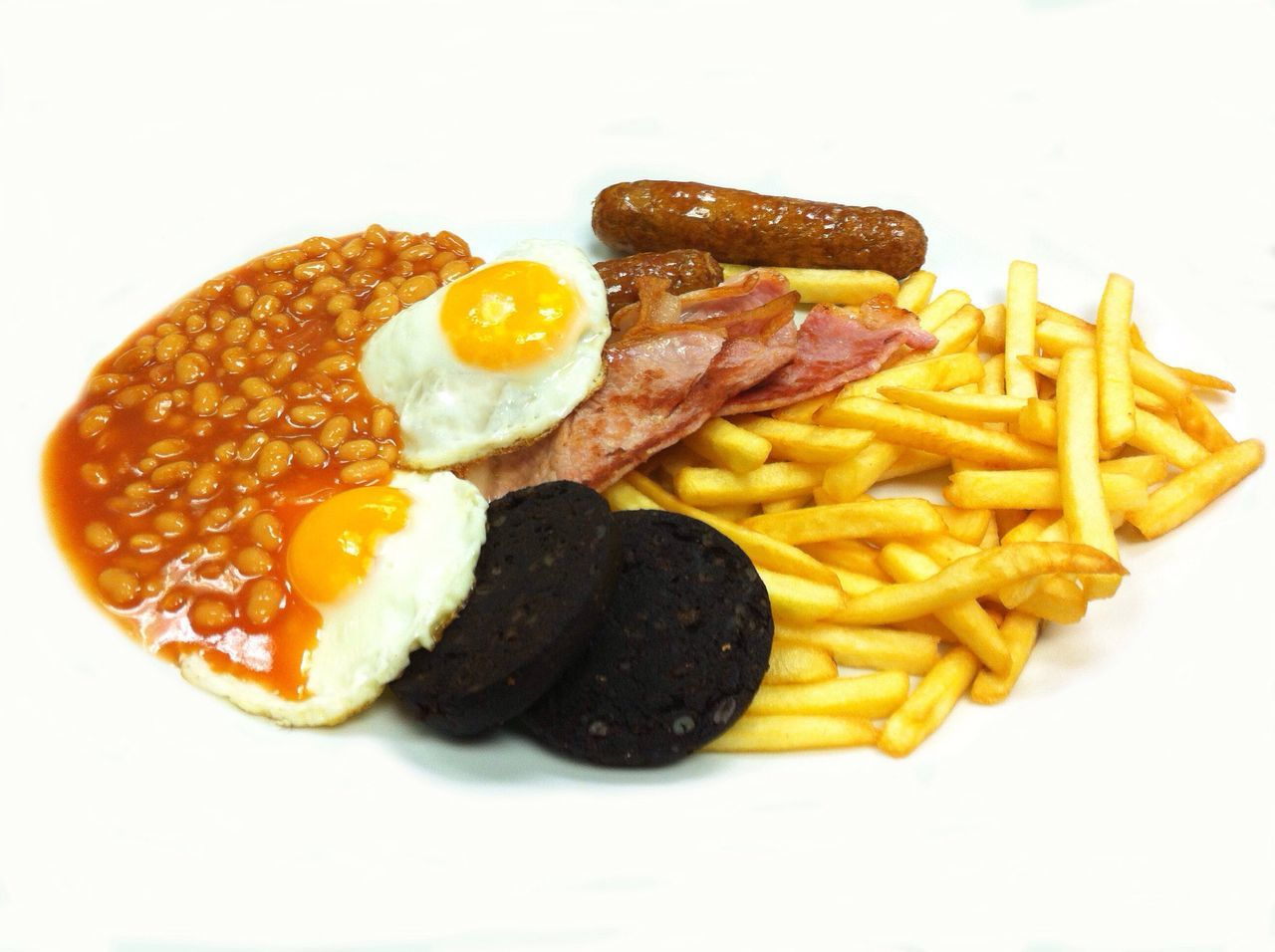 English breakfast scene Fried Egg Fried White Background Food And Drink Egg Food English Breakfast Prepared Potato Breakfast Sausage Studio Shot Bacon Meat No People Ready-to-eat Unhealthy Eating Processed Meat Egg Yolk Indoors  Close-up