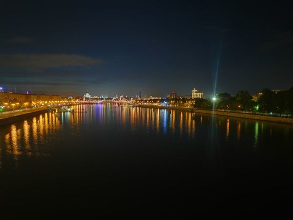 Reflection Night Illuminated Bridge - Man Made Structure City Sky Water Travel Destinations River Outdoors Architecture Cityscape Built Structure Scenics Landscape Building Exterior No People Vacations Horizon Lantern Moscow Moscownight Moscowneversleeps