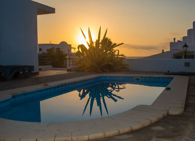 Sunrise over Pool Architecture No People Orange Color Sky Sun Sunlight Sunrise Over Pool Sunrise_Collection Sunrise_sunsets_aroundworld Tranquil Scene
