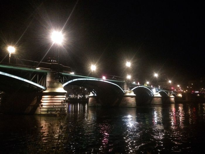 Bridge - Man Made Structure Illuminated River Frankfurt Bridge