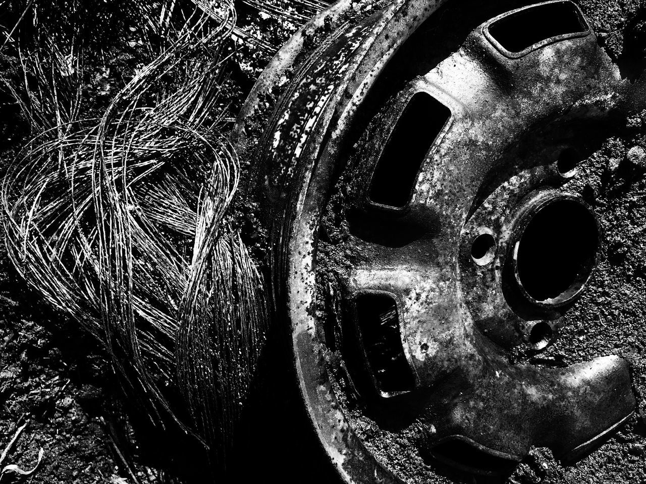 Close-up Machinery No People Machine Part Metal Outdoors Day Rubbish Trash Recycle Monochrome Photography
