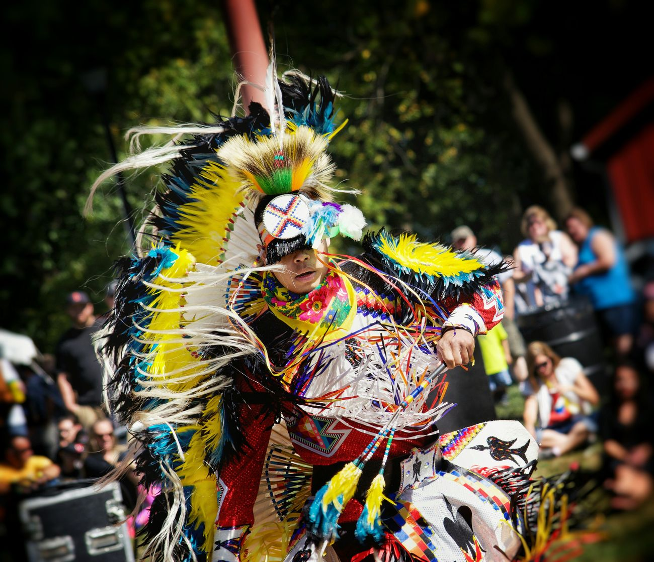 Captured this photo of a Native American dance portraying a battle between two warriors at a local heritage festival..Capture The Moment Native American Nativebeauty  Native Dancer Dance Battle Warrior Bright Colors Beautiful Festivals