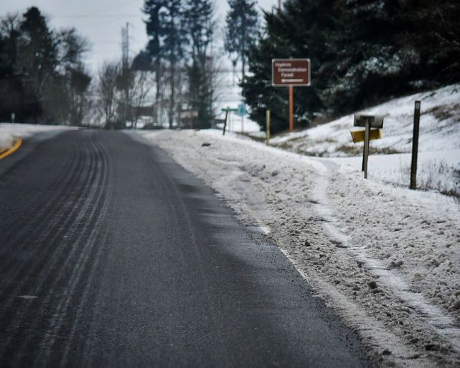 Road The Way Forward Outdoors No People Day Road Sign Tree Cold Temperature Winter Winter Wonderland Driving Wintertime Snow ❄ Icy Traveling Travel Road Roadtrip Drive Snow Selective Focus