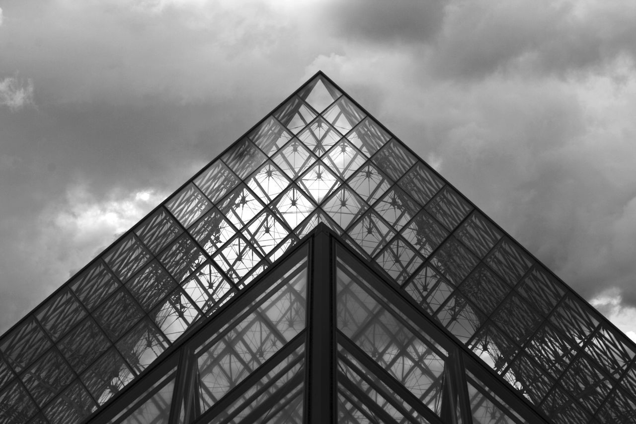 Architecture Paris Cloud Built Structure Low Angle View 2 Buildings Triangle Sky Cloud - Sky Louvre Pyramid Modern Building Exterior Building Buildings Architecture_collection Glass Glass - Material Day France