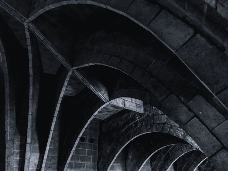Arch Architecture Built Structure Low Angle View Day Arched Dark No People Arcade Curve History Architectural Column Dark Darkness And Light Contrast Bnw Colors Cold Cold Temperature Modern Art Landscape_photography Modern Architecture Architectural Detail Architecture_collection Love