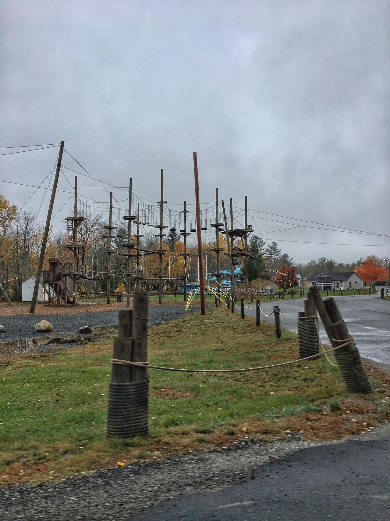 Roadside Day Autumn Scenery Fun Park Seasonal Rope Course Obstacle Course Water Slides Go Carts Mini Golf Sky Grass Field Transportation Landscape Outdoors Nature No People Trenton,ME