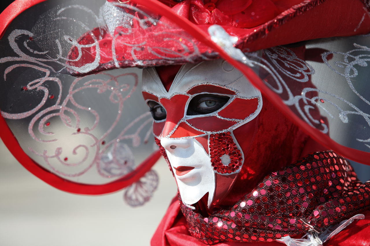Carneval Creativity Decorated Mask - Disguise Red Venice, Italy