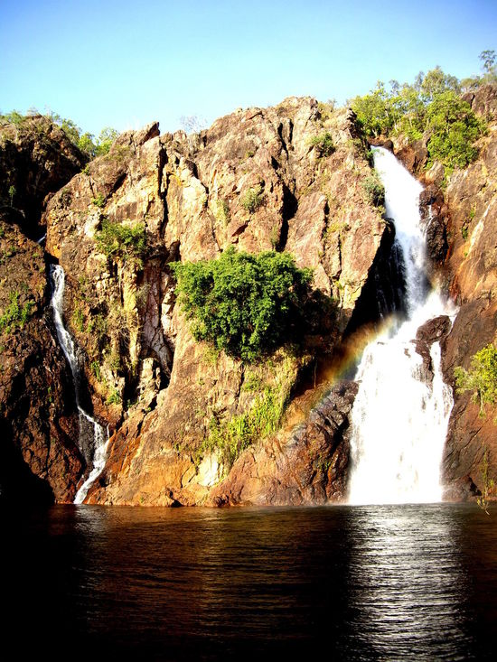 Australia Beauty In Nature Clear Sky Day Flowing Flowing Water Green Color Growth Litchfield National Park Mountain Nature Non-urban Scene Outback Outdoors River Rock - Object Rock Formation Scenics Sunlight Sunny Tranquil Scene Tranquility Tree Water Waterfall