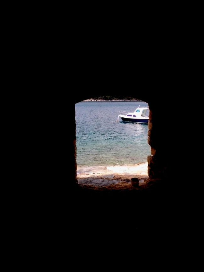 Sea Boat Summer View From The Cave Colors Blue Sea White Boat Beautiful Cave