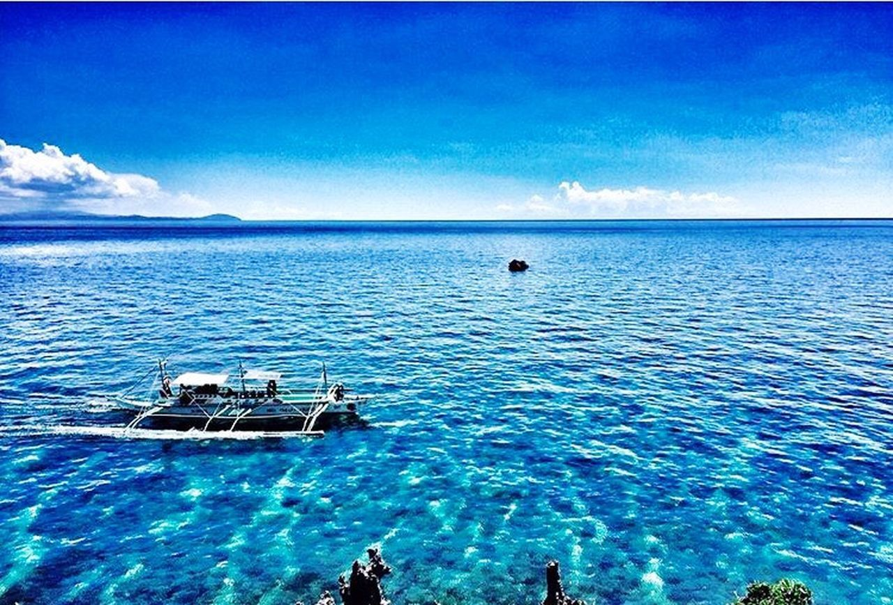 Blue Scenics EyeEm Eyeem Philippines Beauty In Nature Nature Tranquil Scene Tranquility Horizon Over Water Water Cloud - Sky Idyllic Outdoors Day Photooftheday Nautical Vessel Outrigger EyeemPhilippines Travel Photography TravelPhilippines Beautifuldestinations Landscapes Beautifulplace Waterscape Beautifulplaces