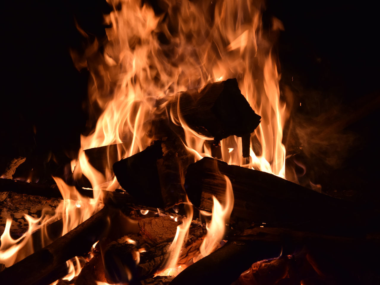 Fire in the night Bonfire Burning Campfire Fire Fire - Natural Phenomenon Firewood Flame Glowing Heat Heat - Temperature Log Night Orange Color 43 Golden Moments