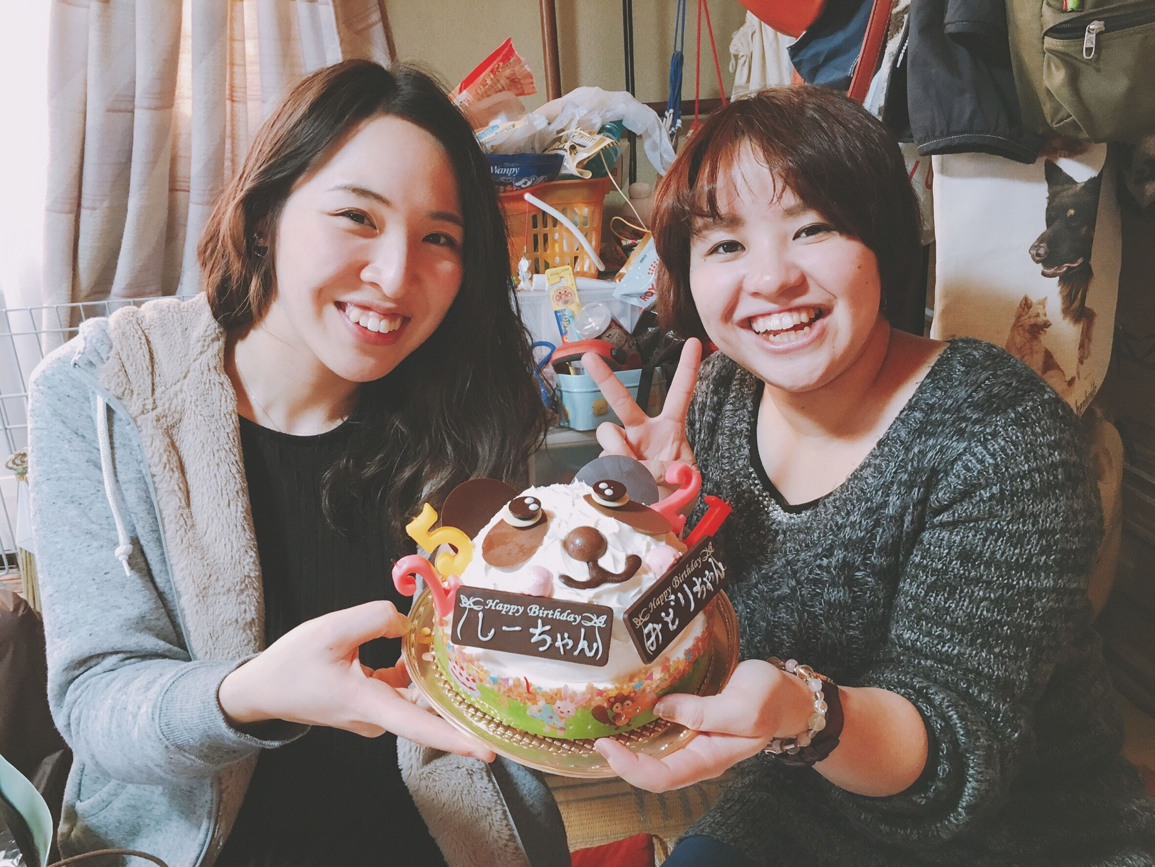 smiling, sweet food, cheerful, celebration, two people, happiness, dessert, enjoyment, friendship, child, portrait, christmas, indulgence, excitement, indoors, togetherness, childhood, young women, young adult, food, people, birthday cake, birthday candles, day