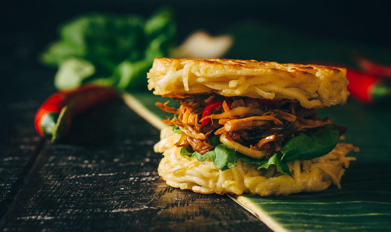 Beautiful stock photos of restaurant, Banana Leaf, Burger, Chicken Meat, Close-Up