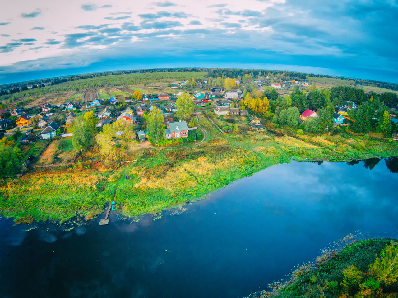 The village on the banks of the river Mologa. One of the many villages Maksatihinsky district of Tver region. Aerial Shot Aerial View Cityscape Cloud - Sky Drone  Dronephotography Landscape Mologa Multi Colored Nature No People Outdoors Panoramic River Rural Scene Scenics Sky Tourism Tranquility Travel Travel Destinations Urban Skyline Vacations Village Water