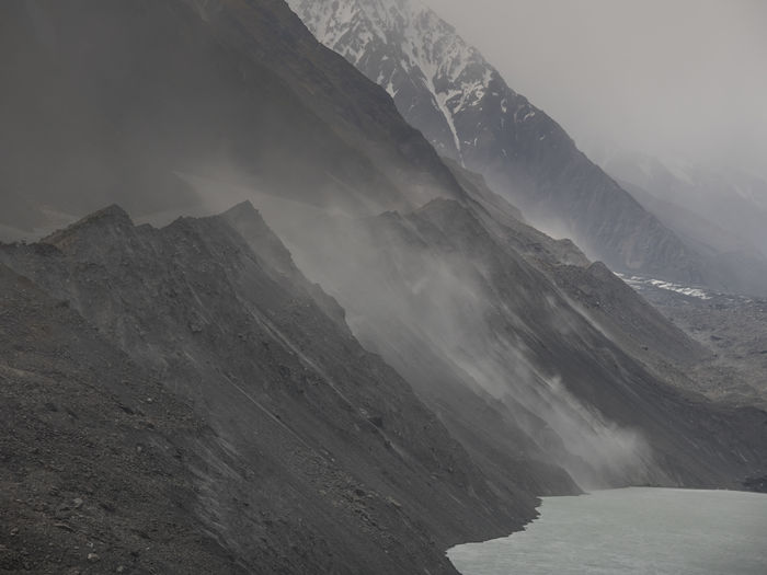 Beauty In Nature Day Dust Dusty Fog Landscape Mist Mount Cook Mount Cook National Park Mountain Nature No People Outdoors Sky Snow Tasman Lake Waterfall Winter