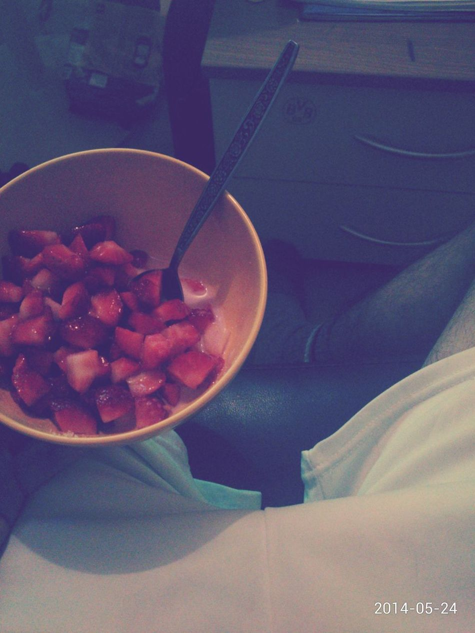 Strawberry, Pornsocks haha and Champions League Final game watching. ✌ People