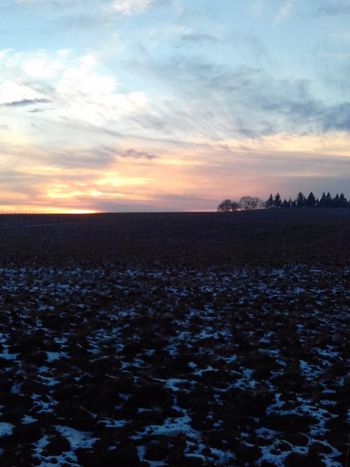 Sunset Landscape Outdoors No People Cloud - Sky Scenics Cold Temperature Winter Sky Rural Scene Agriculture Land