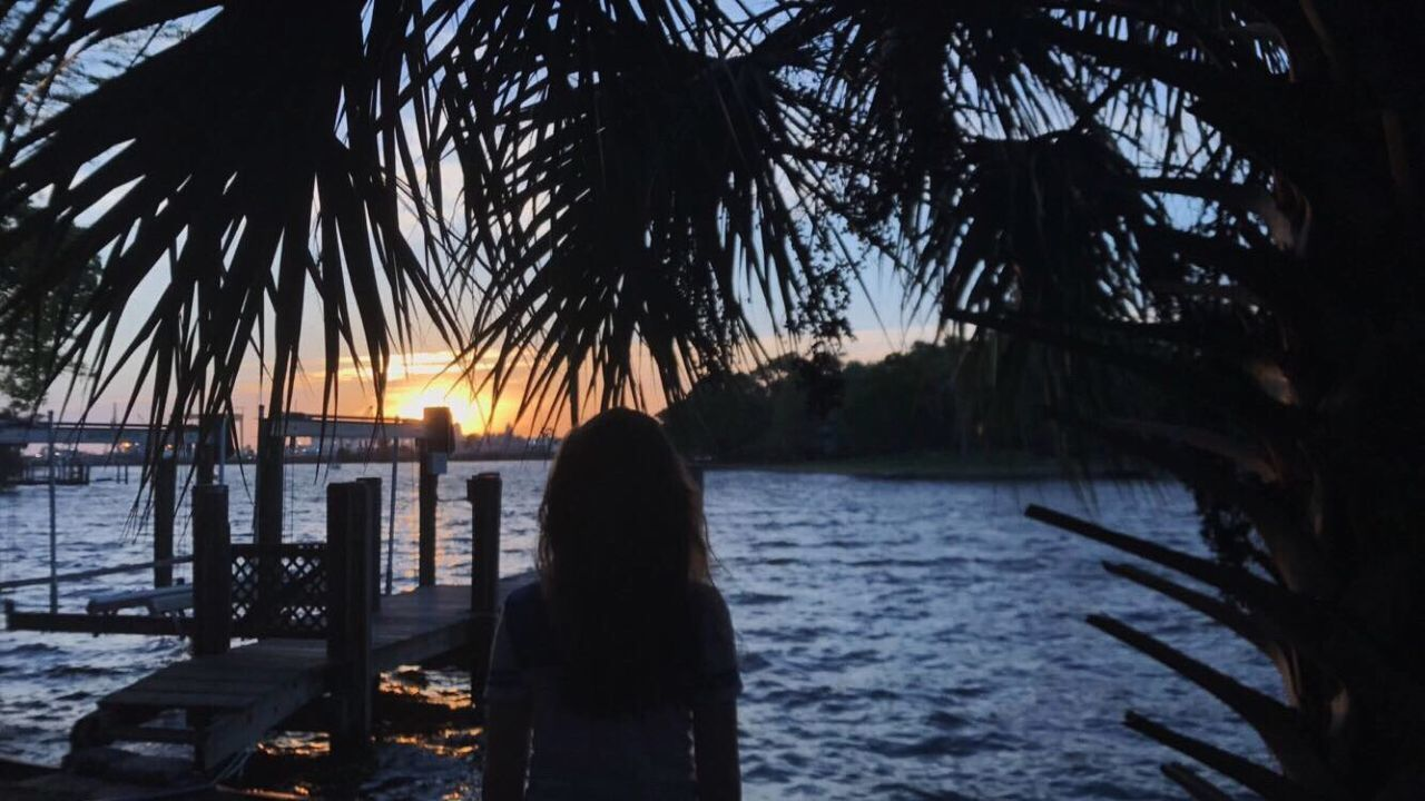 water, sunset, nature, silhouette, tree, sea, tranquility, scenics, tranquil scene, beauty in nature, rear view, outdoors, one person, palm tree, sky, horizon over water, real people, day, people