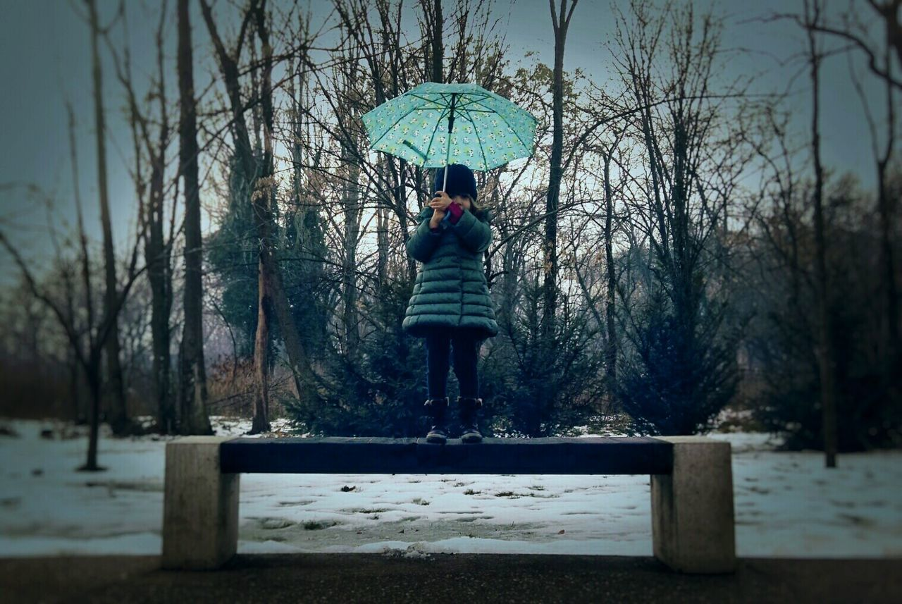 It's Cold Outside Wintertime Littlegirl Umbrella Green Green Green!  Natureinwinter Child Children Portraits Eyemchildren EyeEm Best Shots - People + Portrait