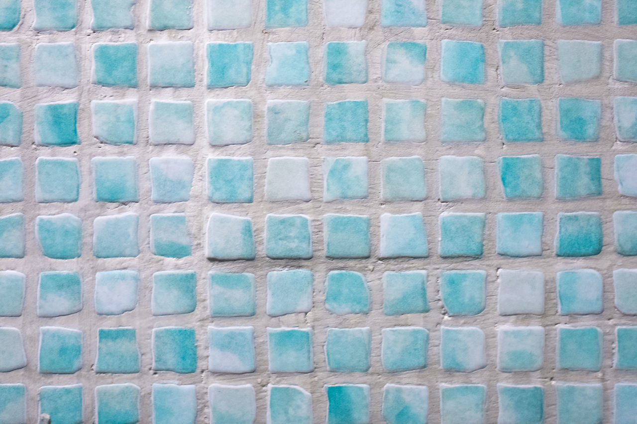Architecture Backgrounds Blue Brick Wall Built Structure Close-up Day Full Frame In A Row Indoors  Mediterranean Culture Multi Colored No People Pattern Pattern Pieces Side By Side Square Textured  Tiled Wall Tiles Turquoise Colored Wall - Building Feature