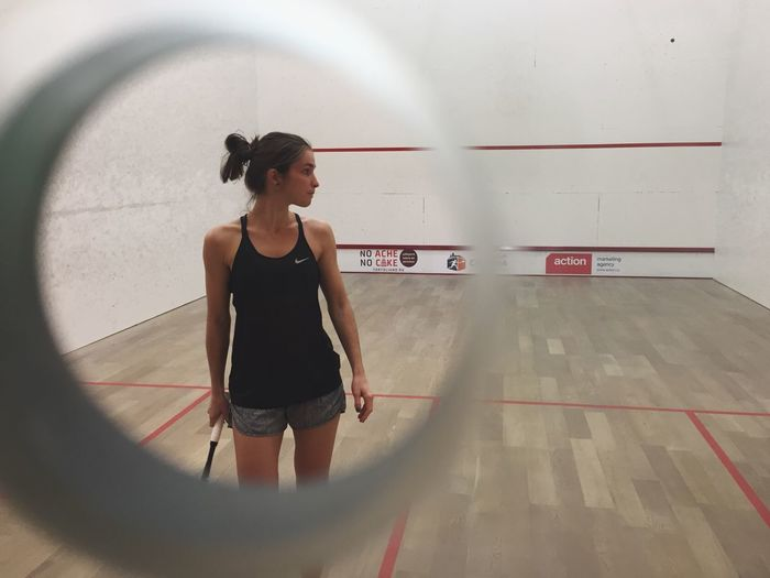 One Person Indoors  Real People Lifestyles Leisure Activity Day Squash Sport Sports Photography Woman Women Of EyeEm Women's Day Women Woman Who Inspire You Women In Sports Squash Game