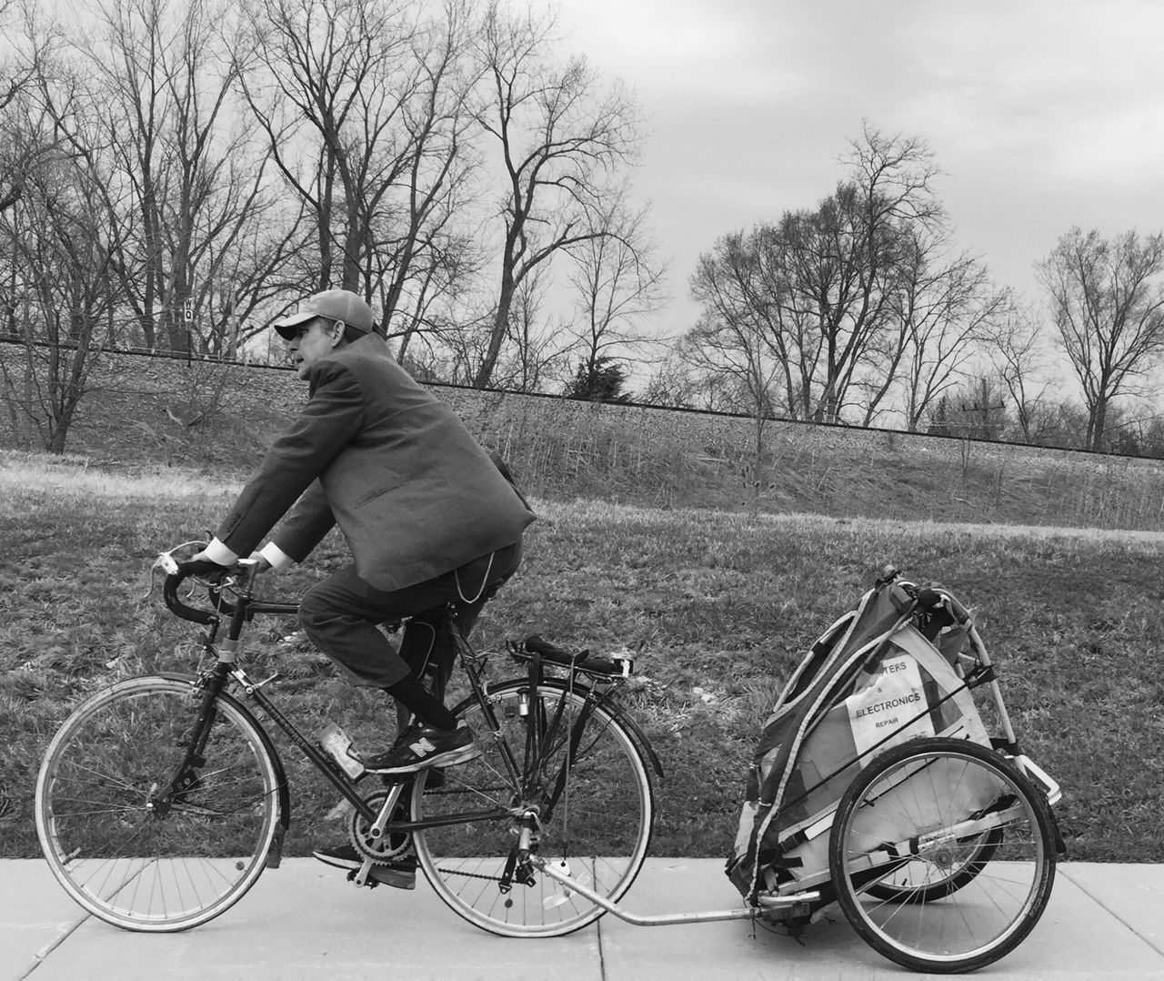 Bicycle Man Rider Pedalling Wind In My Face Cart