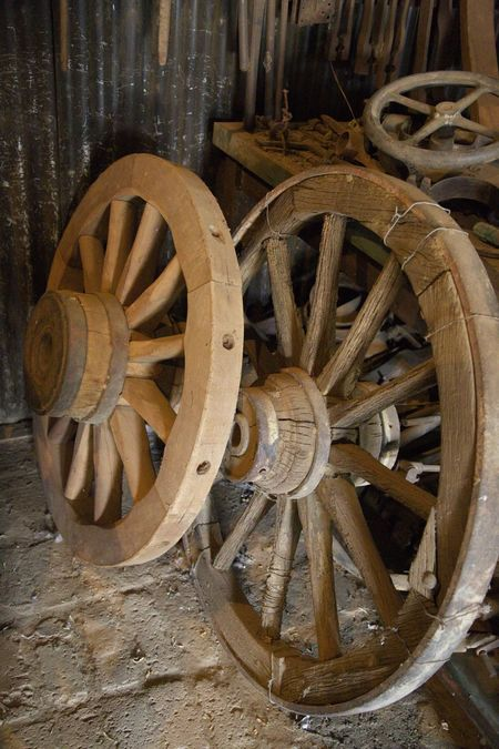Rustic Wheels Old Town Cartwheels Close-up History Place Kimberleysouthafrica No People Old-fashioned Rustic Charm Rustic Style Wagon Wheel Wagonwheels Wheel Wood - Material Woodenwheels