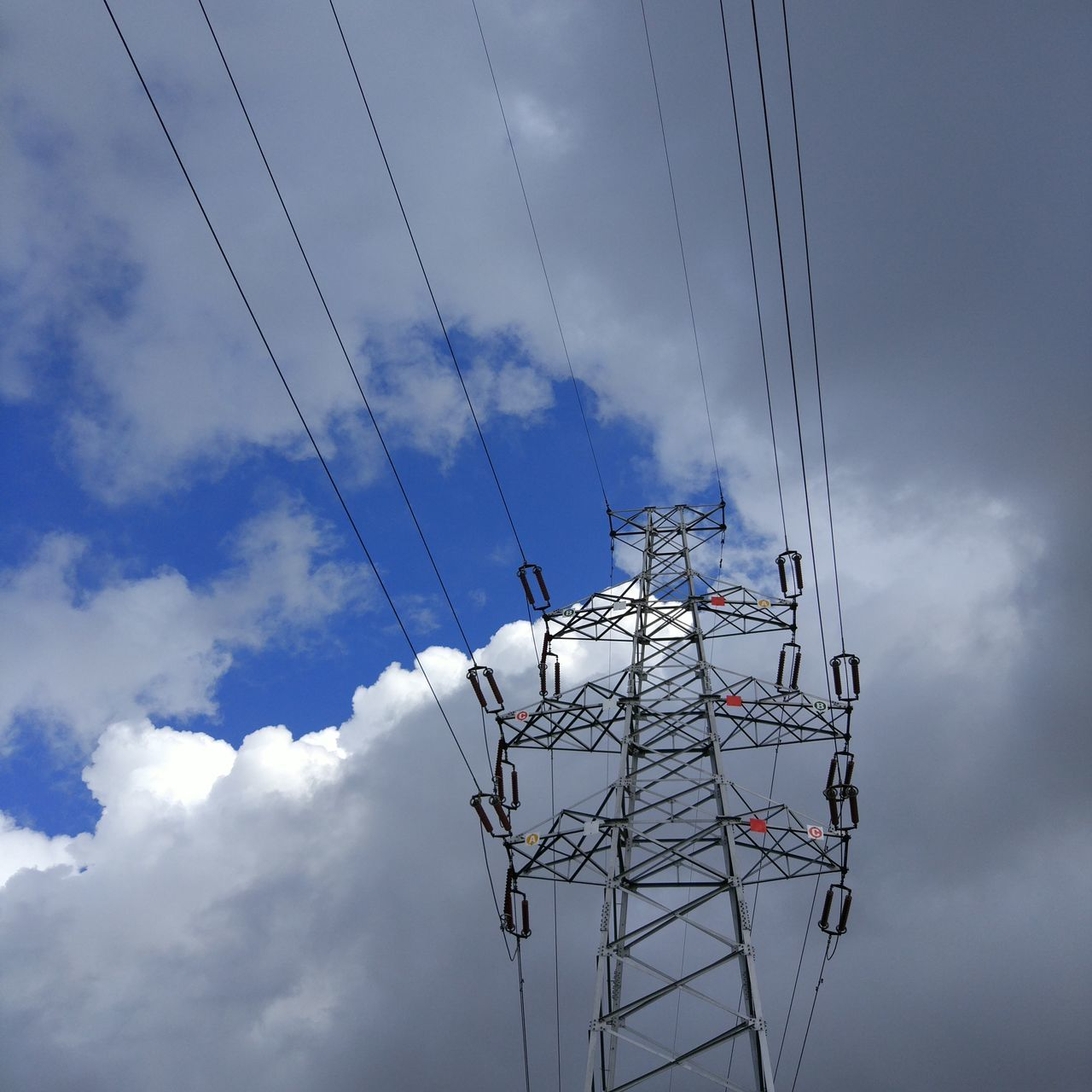cable, connection, cloud - sky, sky, technology, electricity, power supply, power line, low angle view, electricity pylon, fuel and power generation, day, no people, outdoors, complexity