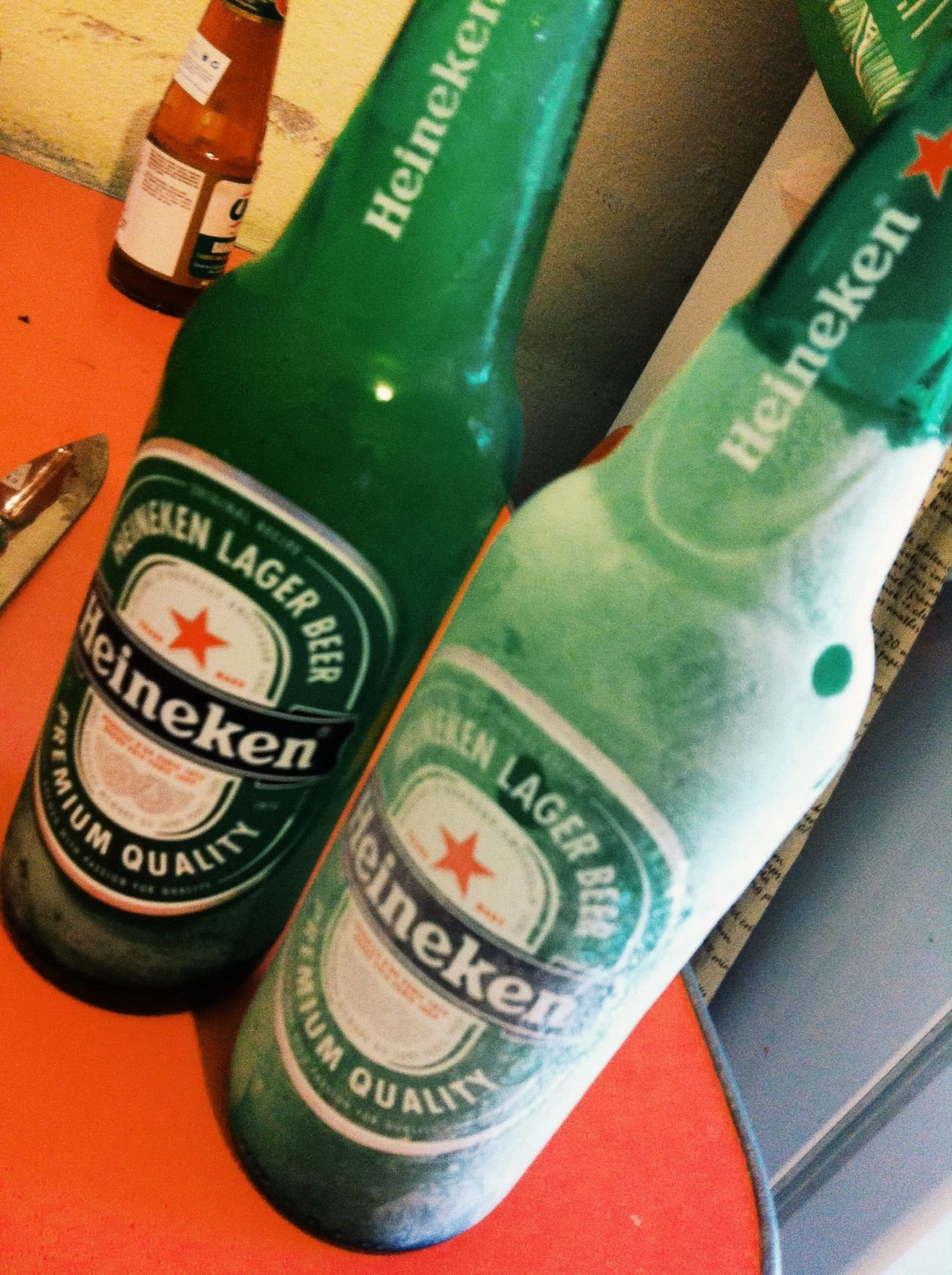 Cold beer.. Heineken -0