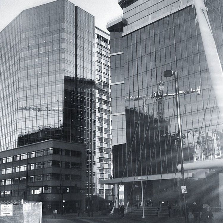I love the reflection. Construction Denver Black White Mile High Construction Reflection Windows Crane Downtown 16thStreetMall End Buildings