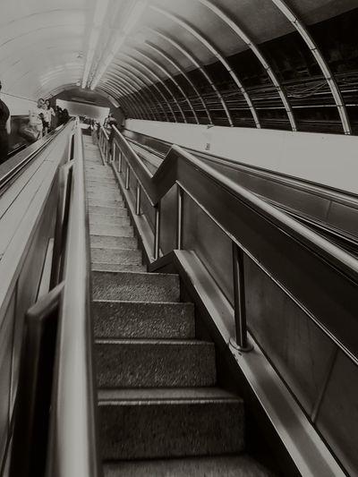 Staircase Vertigo Underground Black & White Tunnels Metallic Escalator People EyeEmNewHere